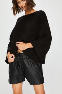 pantaloni scurti dama piele negri