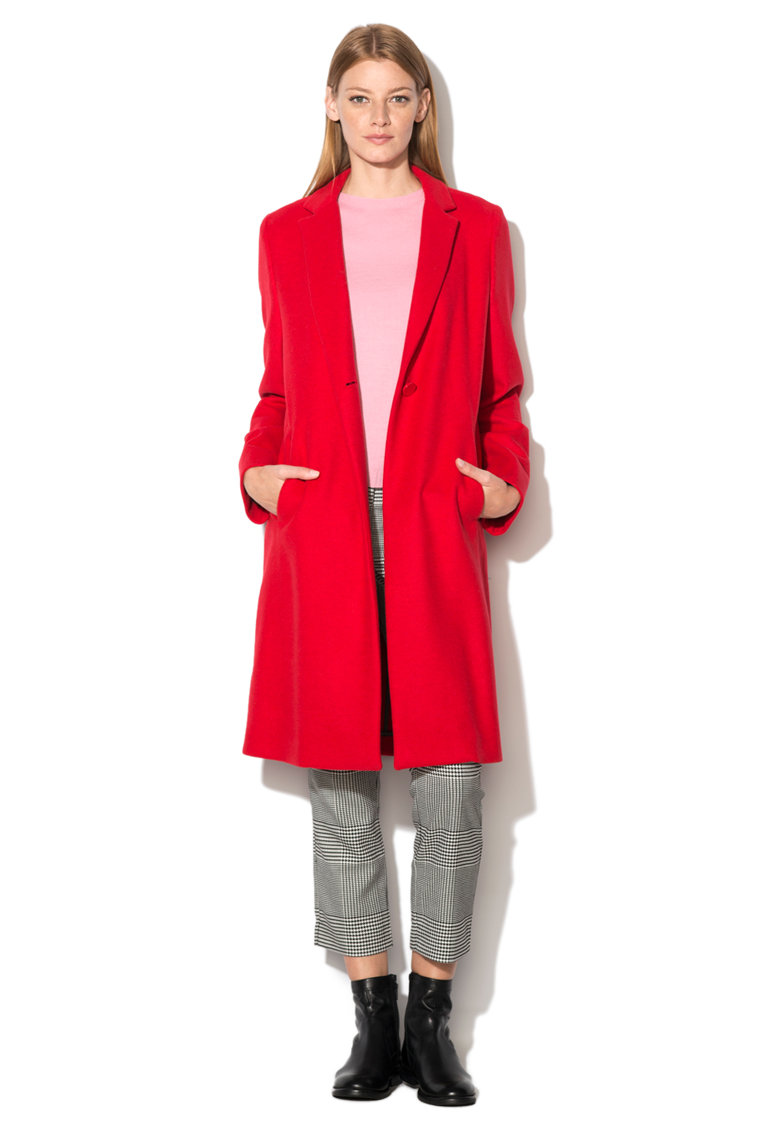 palton dama lana rosu oversize