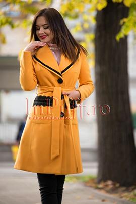 palton dama lana galben