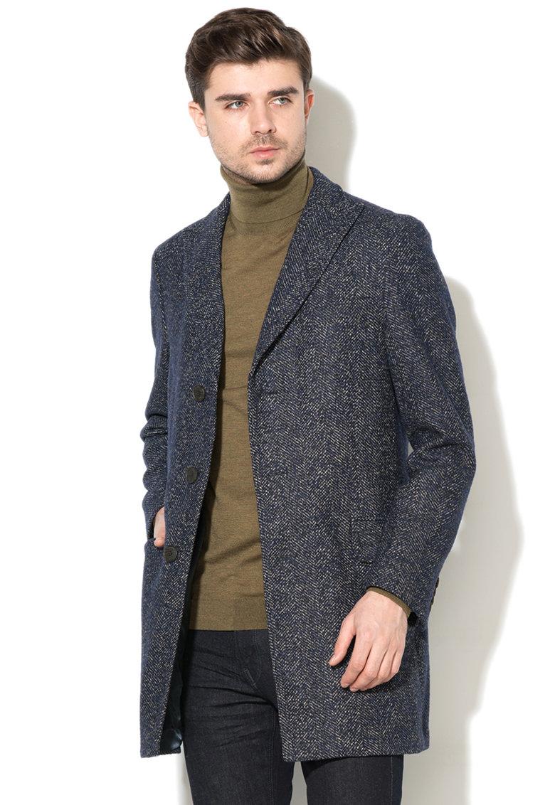 palton lana barbati bleumarin