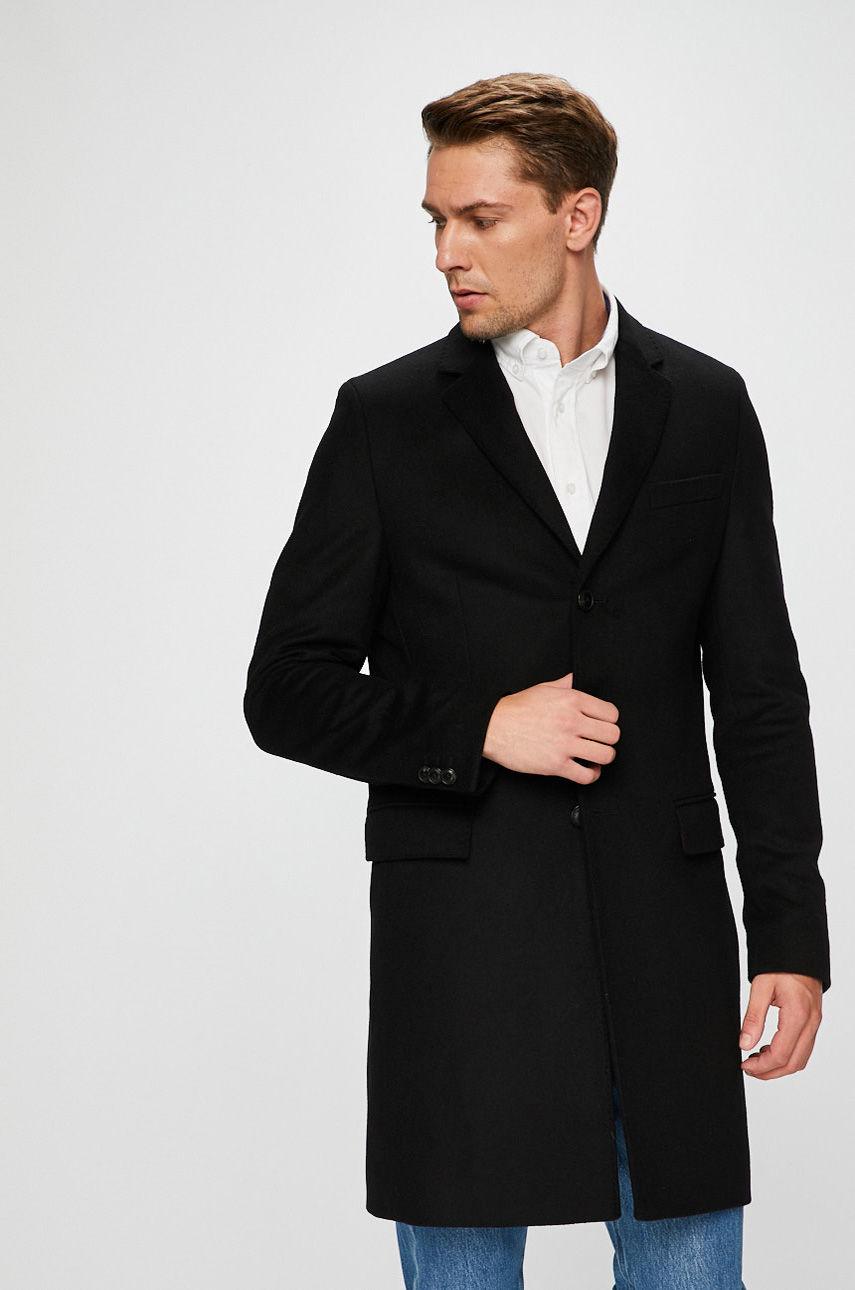 palton lana barbati negru clasic