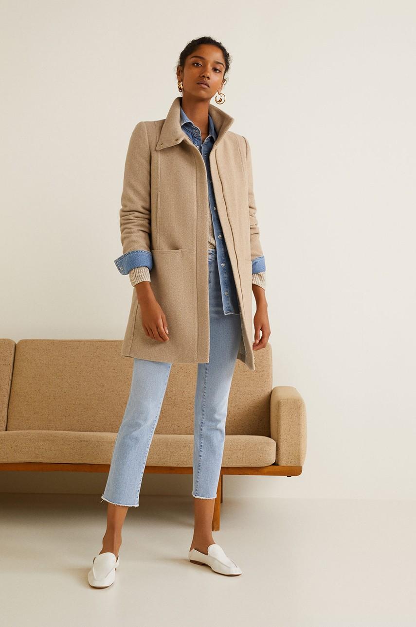 palton lana dama bej scurt