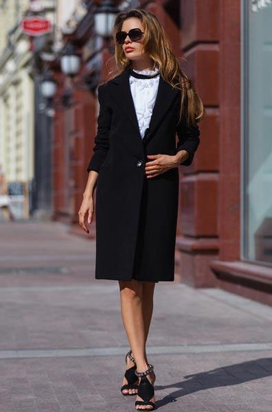 palton lana dama negru lung