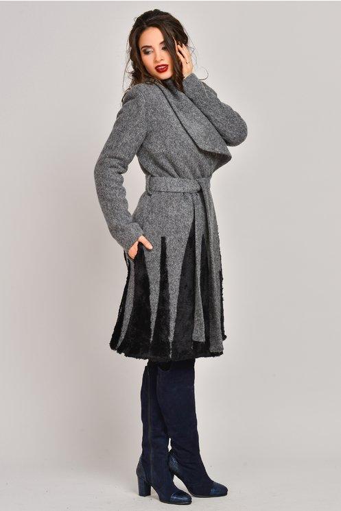 palton gri din lana