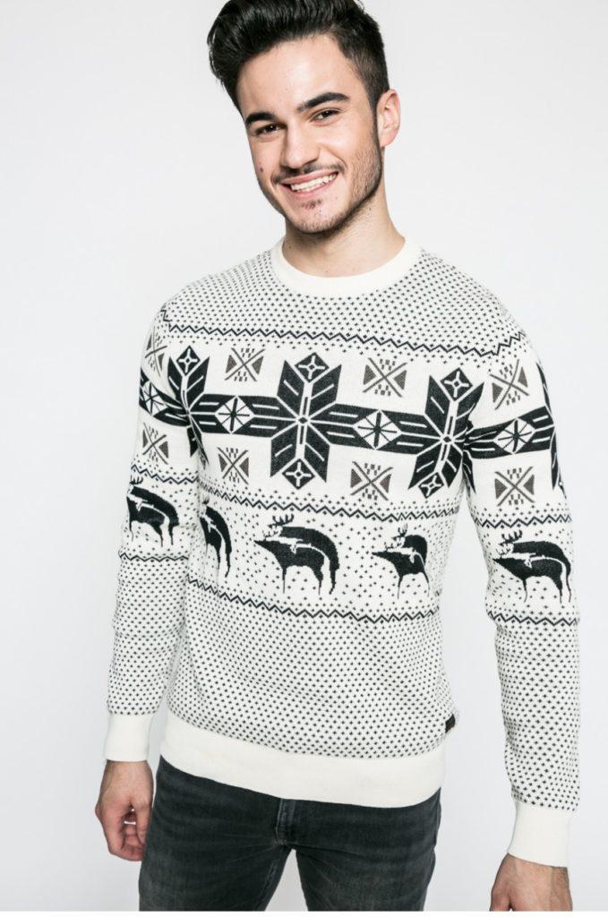 pulover craciun amuzant alb