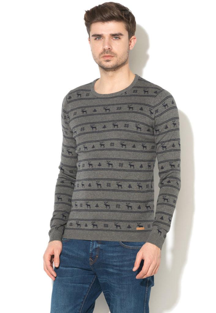 pulover craciun cu reni gri