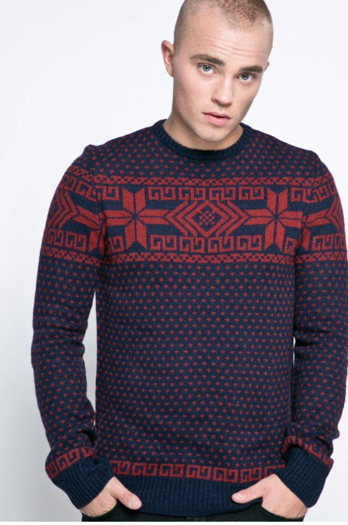 pulover craciun fulgi de zapada albastru