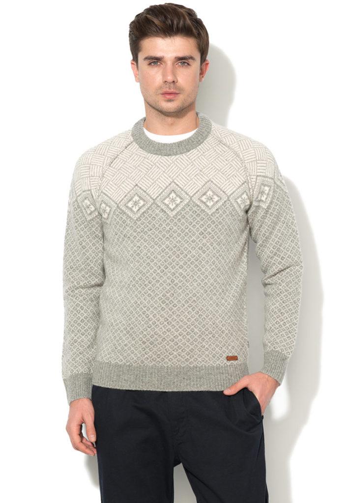 pulover craciun geometric bej