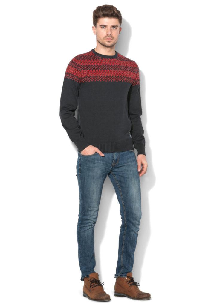 pulover craciun geometric gri