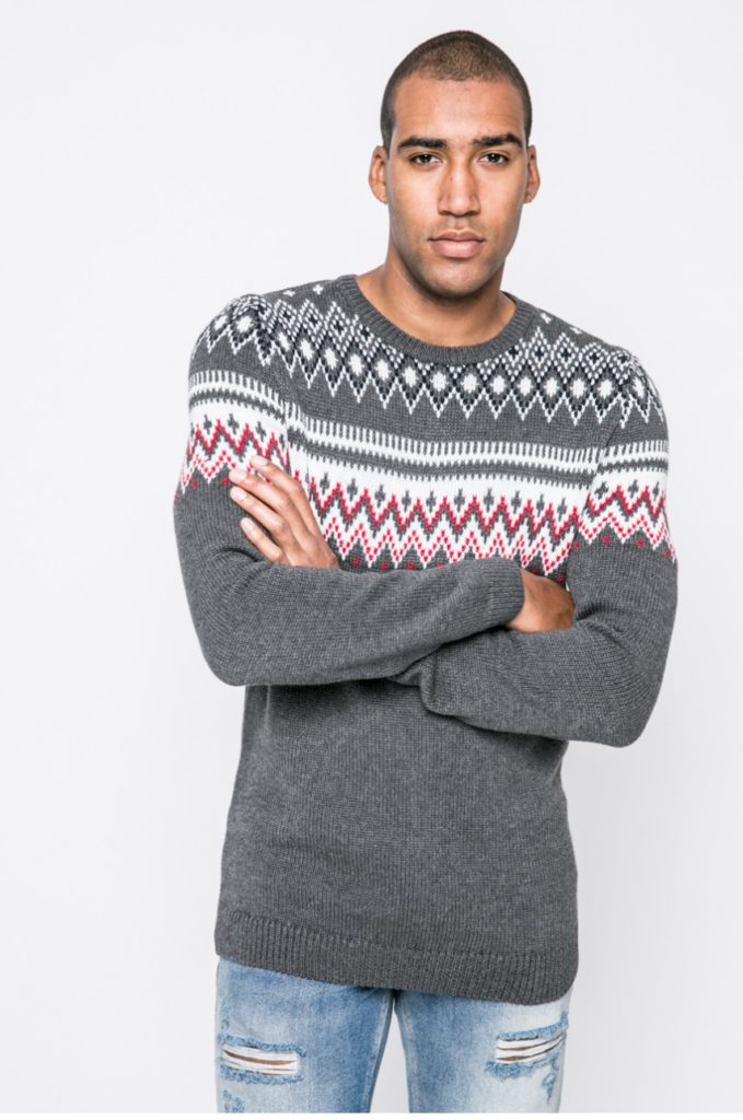 pulover craciun geometric gri deschis