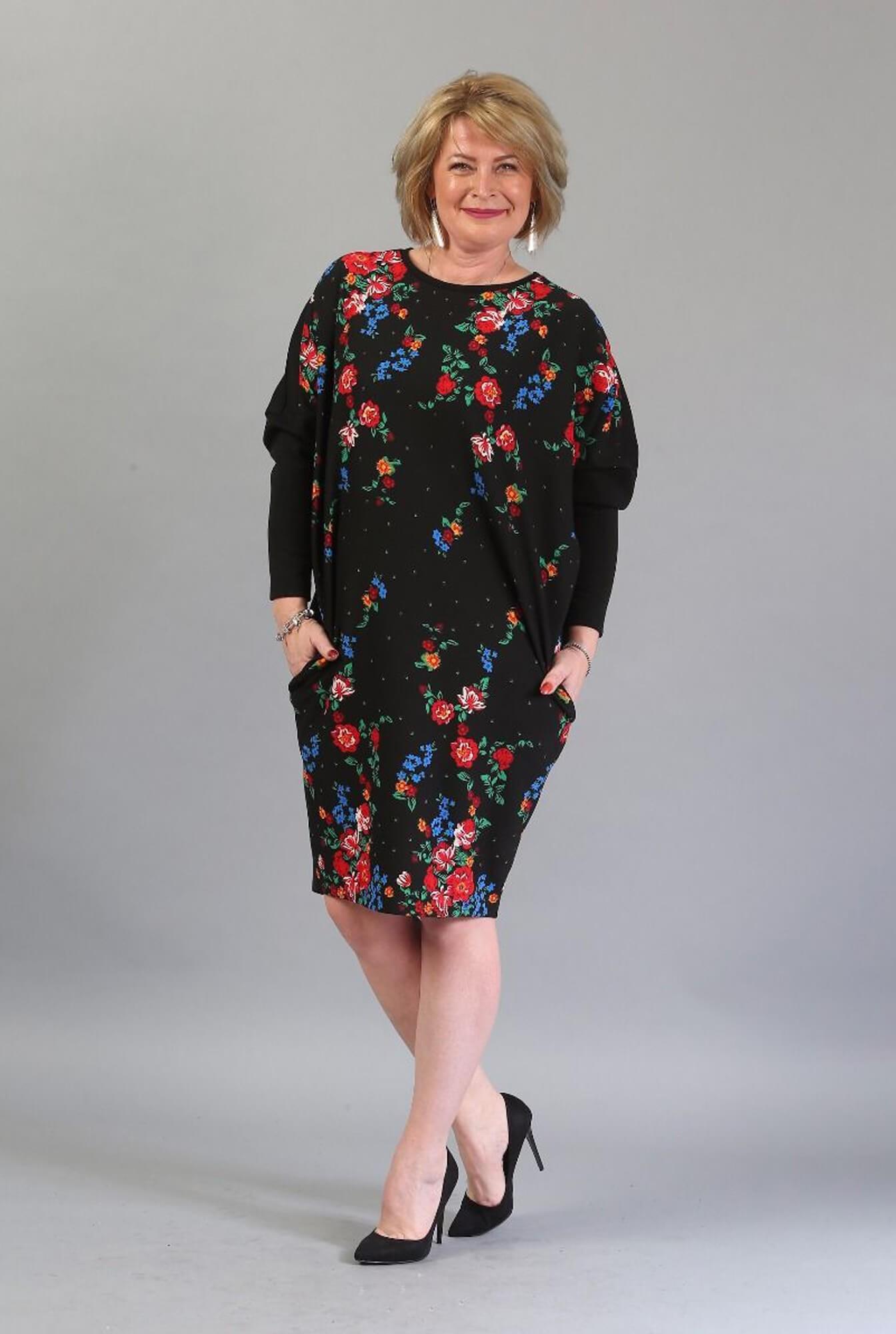 rochie plus size cu flori