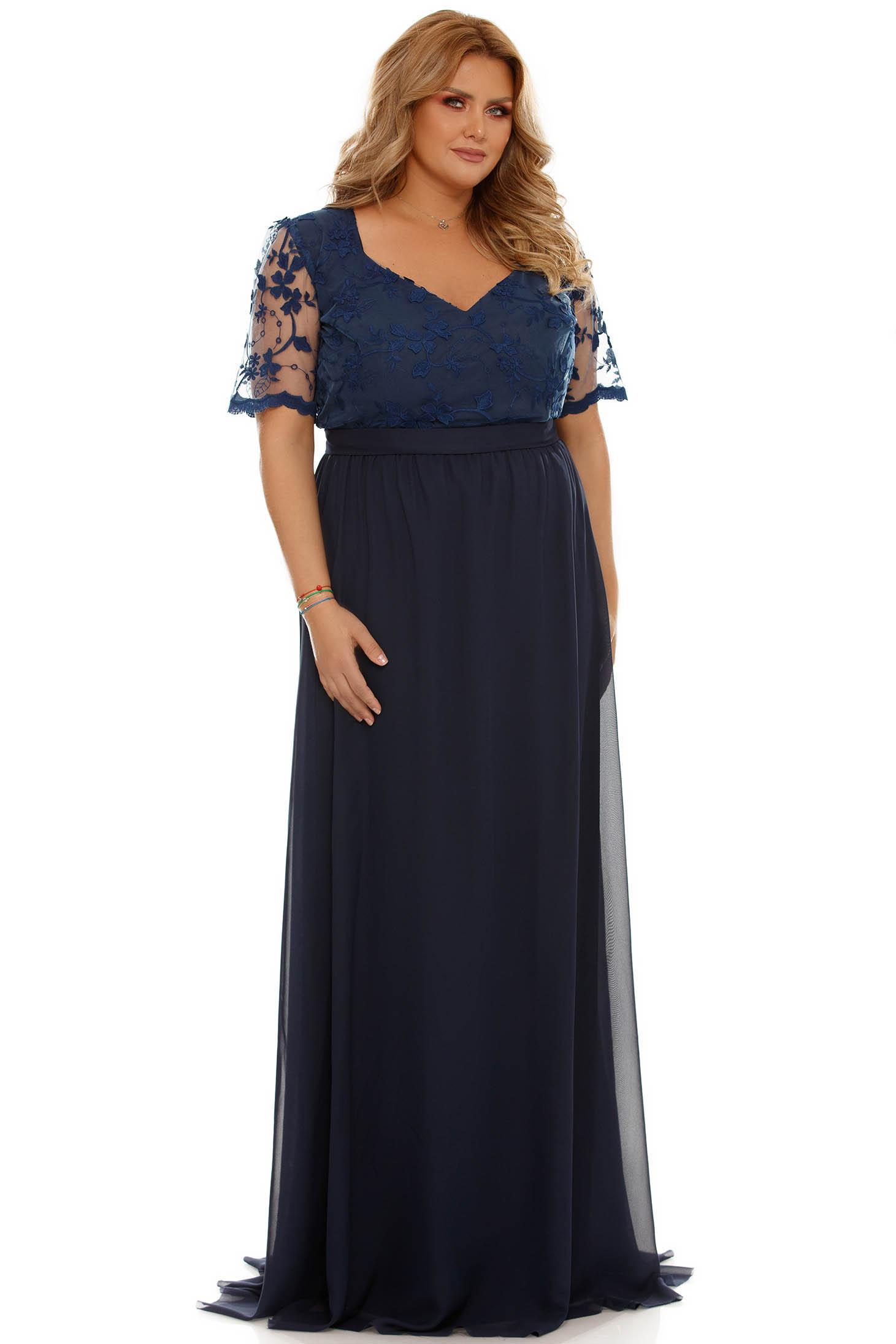 rochie plus size albastra