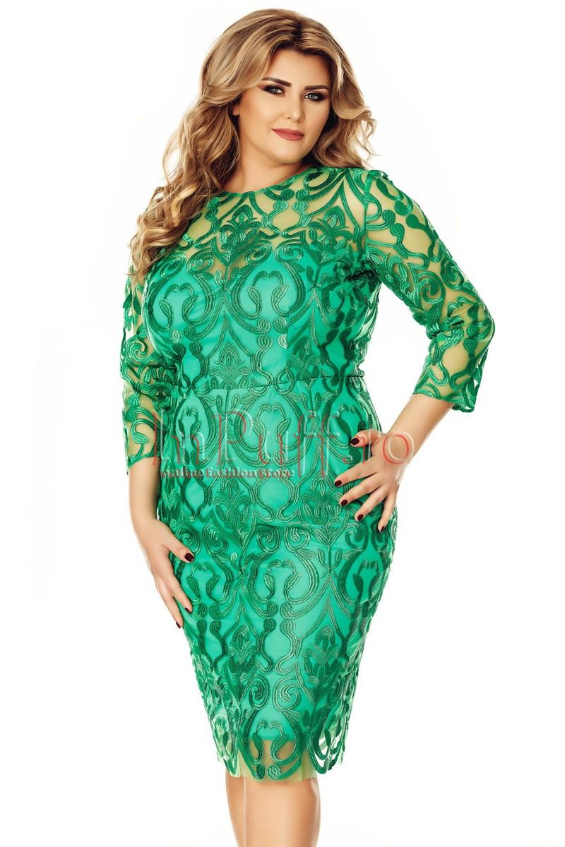 rochie plus size casual verde