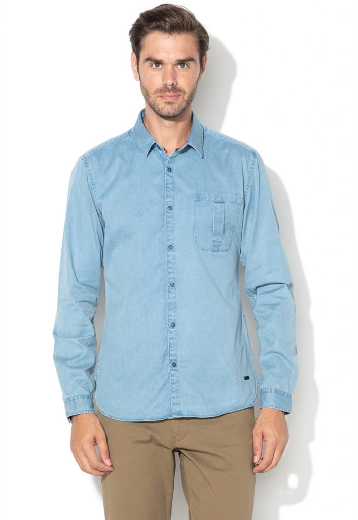 Camasa barbati casual - denim - albastra