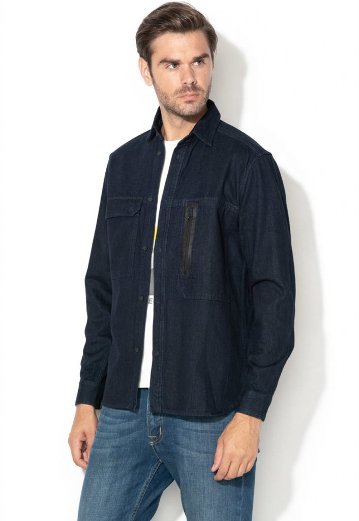 Camasa barbati casual - denim - bleumarin