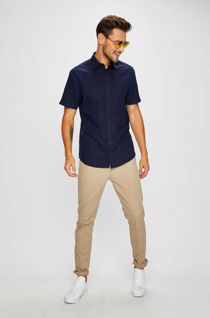 Camasa barbati casual - maneca scurta - albastra