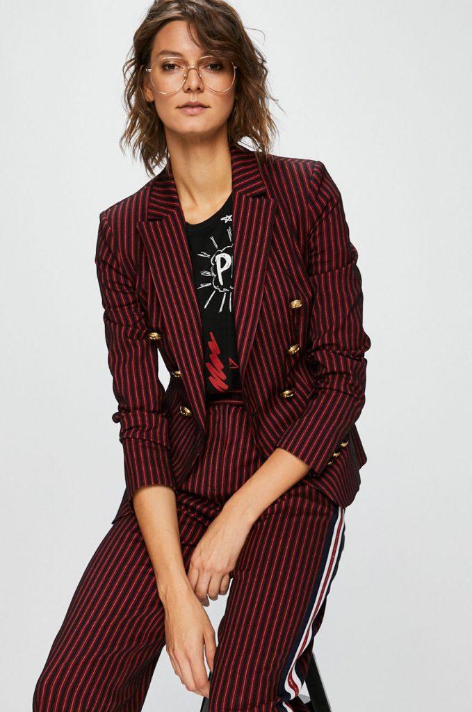 Sacouri dama casual - carouri negru rosu