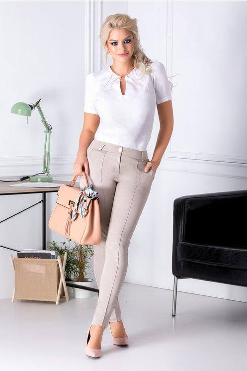 pantaloni office dama cu cusaturi pe fata