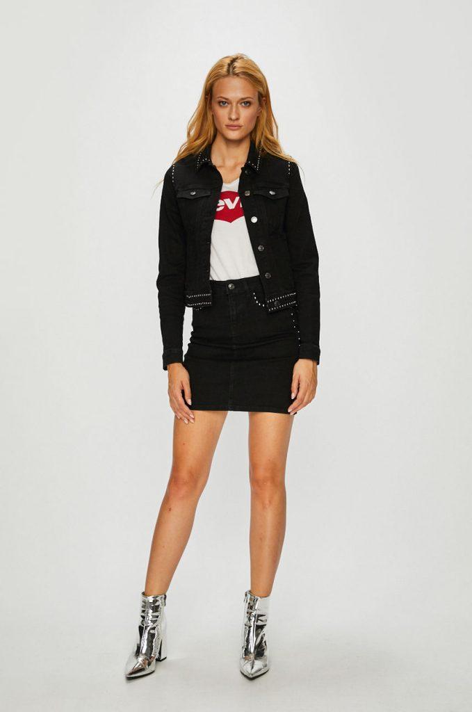 geaca de blugi dama - fusta trapez -negru