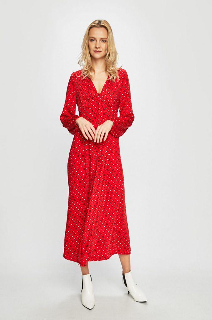 rochii rosii lungi cu buline