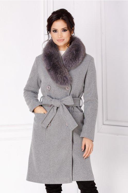 palton gri blana