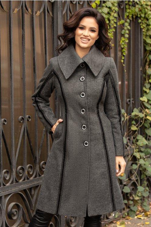 palton gri inchis cu sclipici