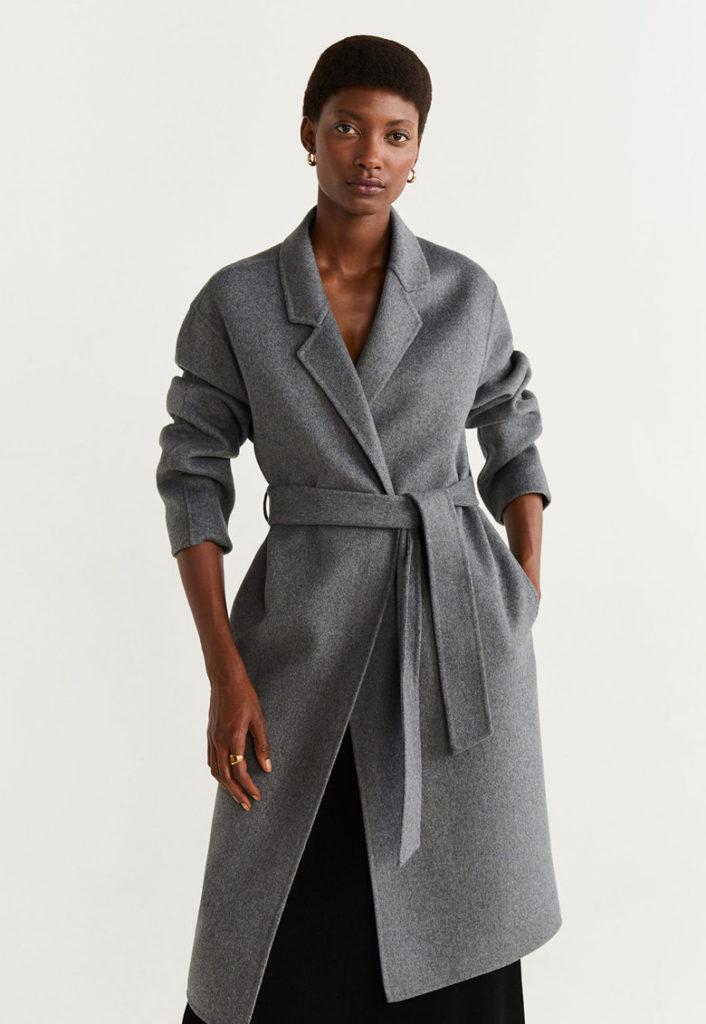 palton gri inchis lung
