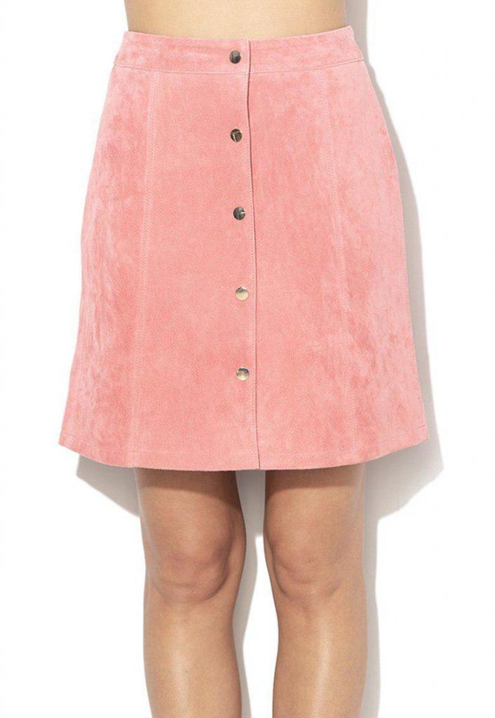 fusta piele intoarsa roz