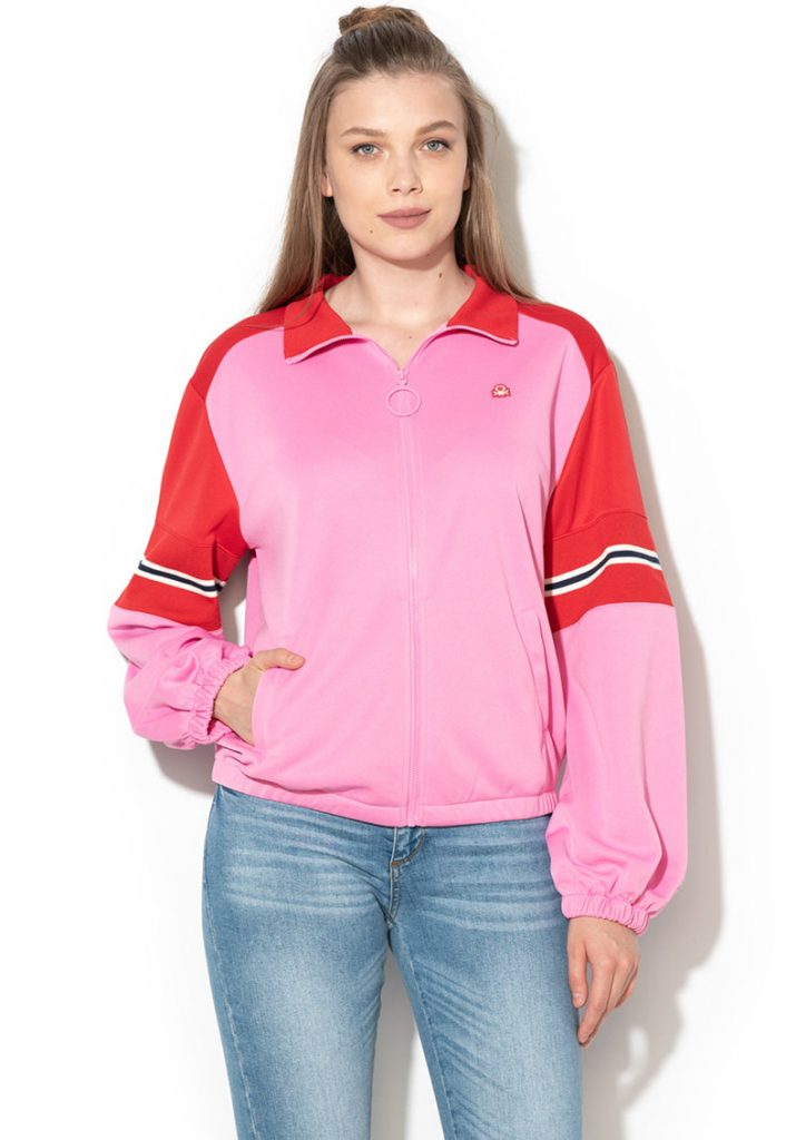 bluza cu fermoar roz