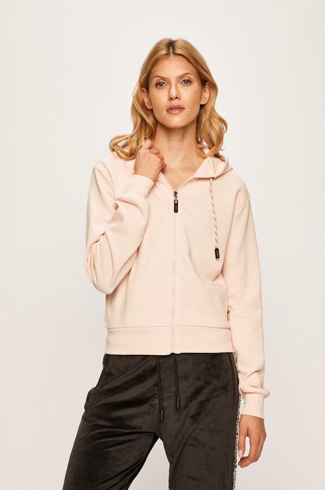 bluza cu fermoar roz pudrat
