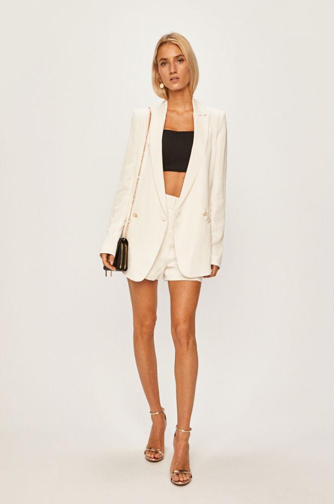 pantaloni dama scurti eleganti albi