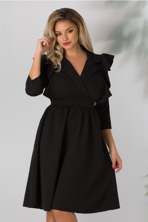 rochie cu volane pe umeri plus size
